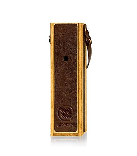 Hekkpipe Deluxe - Tragbare Shisha Wasserpfeife in Holzbox mit Ledereinsatz (Braun)