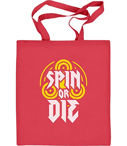 Geschenkidee für Spinner-Fans - Spin or Die Jutebeutel Baumwolltasche Rot