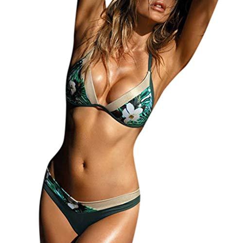 Junjie Frauen gepolsterter BH Bikini Set Push Up Bandage Badeanzug Beach Bademode Strand ärmellos sexy Spitze Teenager Badeanzug Blau, Weiß, Grün -