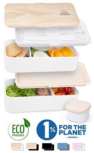 UMAMI  Lunch Box Bianco Bambù | Porta Pranzo Ermetico 2 Scomparti e 3 Coperchi con Posate e Porta Condimento | Per Microonde e Lavastoviglie | Contenitori Alimentari Bento Box Portatile | No BPA