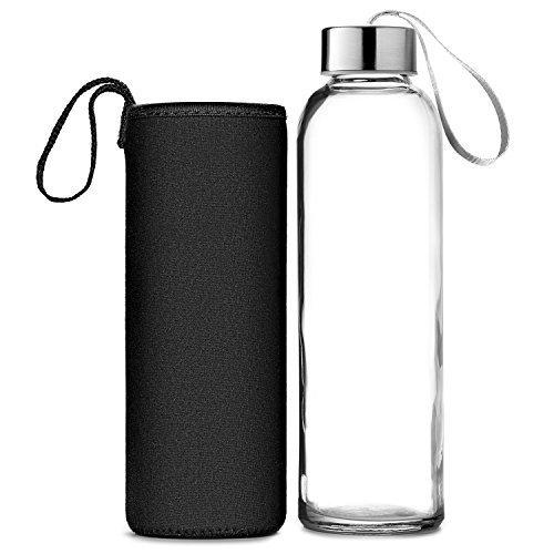 Chef's Star Glas Flasche Wasser 6 Pack 18Oz Hülse Flaschen Für Getränke Und Entsafter Verwenden Edelstahl Kappen Mit Trageschlaufe - Einschließlich 6 Nylon Schutz Mit Flaschenbürste (Glas Entsafter)