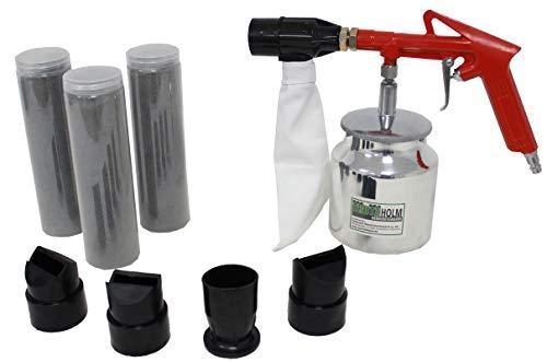 TrutzHolm® Druckluft Sandstrahlpistole Luftdruck Sandstrahlgerät 4 Düsen (Flächen- Punkt- Außenkanten- Innenkantendüse), 2,5kg Strahlmittel, 1x Auffangbeutel