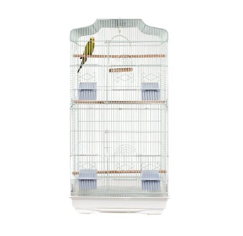 Cristiana Bird Cage - Budgies, Cockatiels, Lovebirds, Parakeets, Black or White (White, Cage) 1