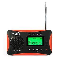 Tivdio V-116 Tragbares Radio Dsp Fm Mw Sw Weltempfaenger Radio Kurzwelle Mit Mp3-player (Schwarz Und Orange)