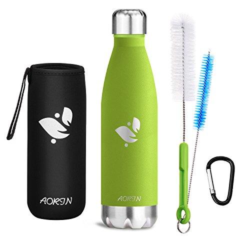 Aorin Vakuum-Isolierte Trinkflasche aus Hochwertigem Edelstahl - 24 Std Kühlen & 12 Std Warmhalten Pulverlackierung Kratzfestigkeit Leicht zu reinigen. (apfelgrün-750ml)