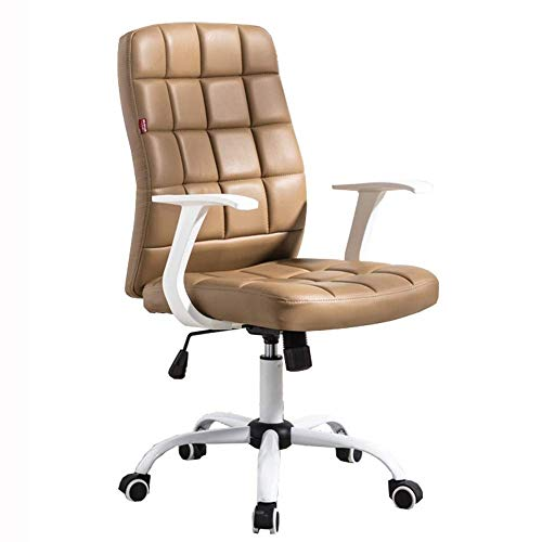 Anac Schreibtischstuhl - Bürostuhl mit Armen/Rädern for Teenager/Studenten, drehbarer Heimcomputer aus Kunstleder (Color : Brown)
