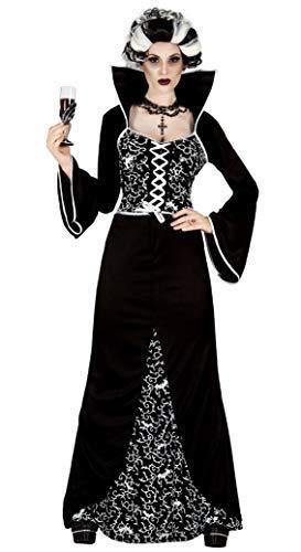 Lang Volle Länge Schwarz/Weiß Königsblau Vampir Halloween Kostüm Kleid Outfit - Schwarz, UK 10-12 ()
