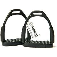 Amidale Flexi Seguridad Estribos Caballo Equitación Flexible Planchas Inoxidable Acero - Negro, 12 cm