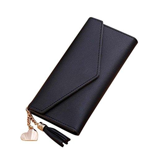 ESAILQ Simple femmes Portefeuille long Tassel Porte-monnaie carte de sac à main titulaires