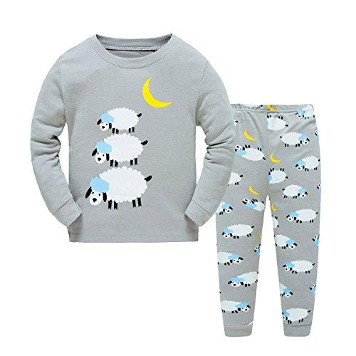 Kinder Jungen Zweiteiliger langärmliger Schlafanzug Baumwolle Schafe Größe 3 Jahr