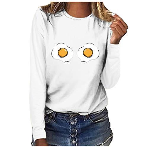 Andouy Damen Oberteile Modisch Drucken Basic Sweatershirts Langarm Rundhals Pullover Weiche Bluse(2XL.Weiß-3)