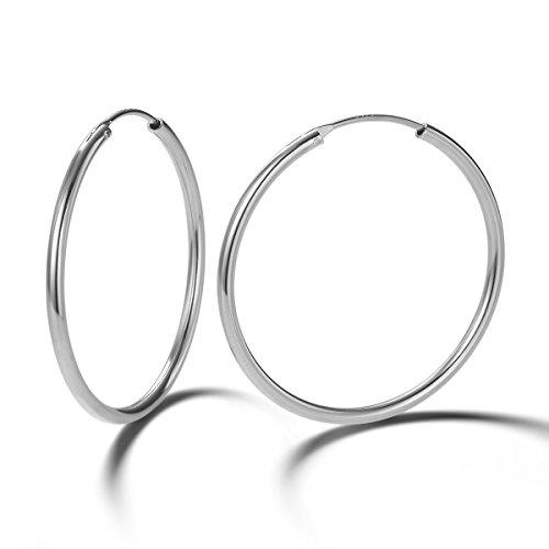 Pendientes De Aro para Mujer Plata de ley 925 círculo Aretes Pendientes Hoops - Diámetro: 35 mm
