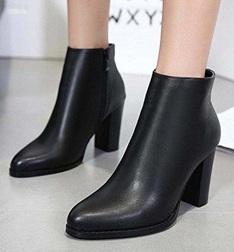 Femmes 9 Cm Talon Bout Pointu Bottines Martin Bottes Simple Chevalier Bottes Couleur Pure Élégantes Chaussures Taille Eu 34-40 Noir