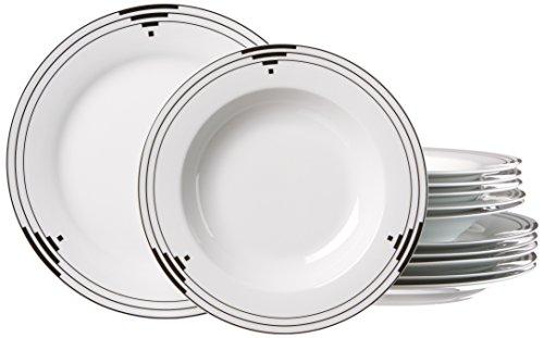 Ritzenhoff & Breker 082241Servizio da tavola Chicago, 12pezzi, porcellana piattino, bianco/nero