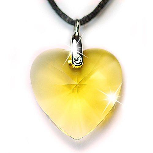 Halskette mit SWAROVSKI CRYSTAL 6228 XILION Heart 28mm Light Topaz, Anhängeröse und Satinkordel
