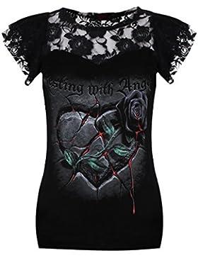 Spiral-Le donne-Riposo con angeli, pizzo a strati Top con maniche, colore: nero