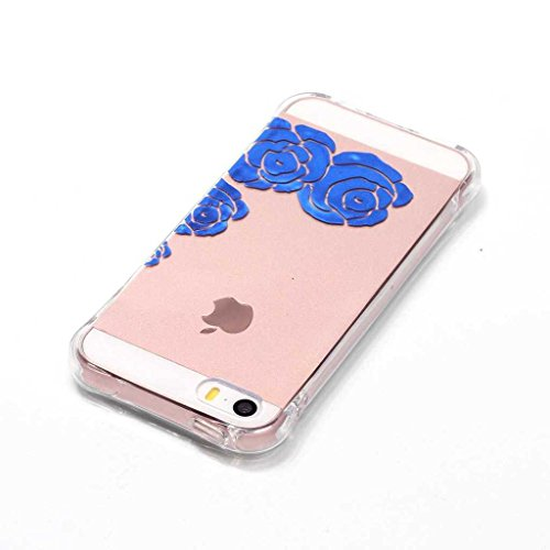 Boxtii® - Cover morbida in TPU per iPhone 6S/iPhone 6, slim fit, antigraffio, antiurto, con pellicola protettiva in vetro temperato in omaggio, PLASTICA, #2 Love, Apple iPhone 5 / iPhone 5s #3 Flower