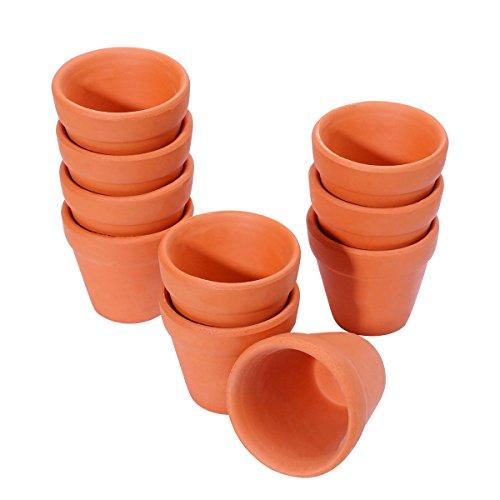 Yardwe 10 STÜCKE Mini Terrakotta Pflanzer Ton Keramik Keramik Blumentöpfe Kaktus Sukkulenten Kindergarten Topf für Innen Außenbereich (4,5x4 cm)