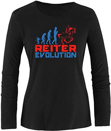 EZYshirt® Reiter Evolution Damen Longsleeve Schwarz/Blau/Rot