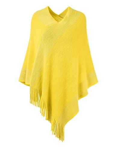 fransen poncho Ferand stylischer Gestrickter Poncho Pullover mit Streifen, V-Ausschnittund Fransen für Frauen, One Size, Gelb