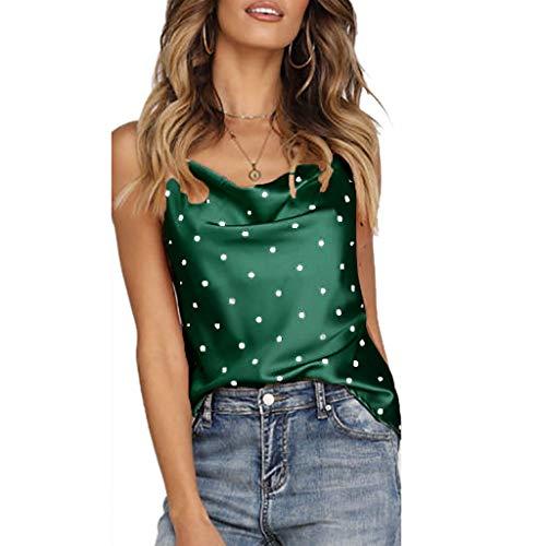 Manadlian_Camisetas sin Mangas Mujer Lunares Seda Satinada Camisa sin Mangas Verano Cami Chaleco Camisola Tops