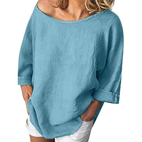 OSYARD T-Shirt en Lin Solide à Manches Courtes à Manches 3/4 Décontractées pour Femme Blouse Hauts Femme,2019 Nouveau été