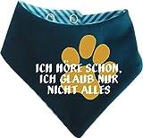 KLEINER FRATZ Gestreiftes Hunde Wende- Halstuch (Fb: Petrol-türkis) (Gr.3 - HU 36-42 cm) Ich höre Schon, ich Glaub nur Nicht Alles
