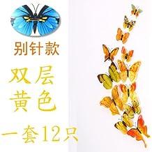XMJR Wall decoration Emulazione a farfalla a doppia parete 3d vision paste frigorifero la graffetta tende camera da letto soggiorno sfondo manifesti creativi, giallo giallo tende, grande clip di carta