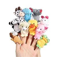 Lumanuby 10 Pcs Baby Finger Toys Tiny Animal Farm Soft Plush Finger Puppet Toy Cloth Toddler Toys