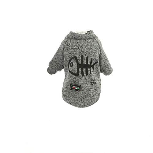 AIUIN Hundemantel Winter Warmer Baumwolle Fischgräte Muster Haustier Hund Streifen Schlafanzüge Overalls Mantel Kleidung Bekleidung (M,Grau) -