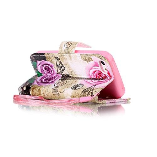 iPhone 5C Portefeuille Coque, Aeeque® Rétro Campanula Noir désign et Fermeture Aimant avec Titulaire de la Carte de Crédit Bookstyle Étui Housse en Cuir Case à rabat pour iPhone 5C Fleurs de Rose Tour