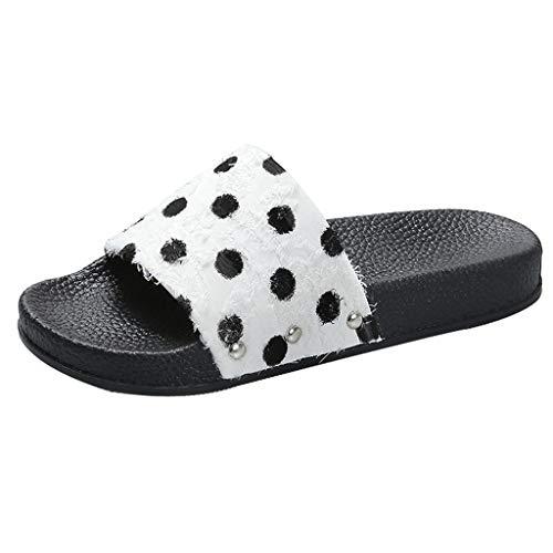 Qingsiy Chanclas Mujer Moda 2019 Romanas Verano Mujer Estilo Bohemia Zapatos Zapatillas Lunares para Mujer Sandalias Casuales de Playa Chanclas de Plataforma de Chancletas (Blanco,39)