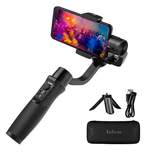 Hohem Stabilizzatore Gimbal per smartphone, stabilizzatore palmare a 3 assi con APP Control Vlog per iPhone Gimbal/Samsung/Huawei e altro (iSteady Mobile Plus Versione Aggiornata) (black)