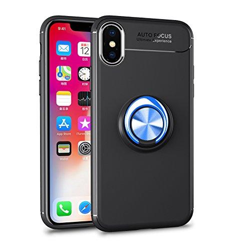 iPhone X Hülle , iPhone 10 Handyhülle mit Ring Kickstand - Mosoris Premium Silikon Shell mit 360 Grad Drehbarer Ständer und Handyhalterung Auto Magnet Ring , Stoßfest Rüstung Schutzhülle Bumper Tasche Case Cover für iPhone X / Ten,Schwarz + Blau