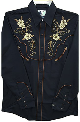 Modestone Men's Embroidered Long Sleeved Fitted Western Hemd Floral Black S