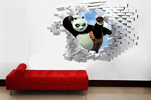 3D Panda Prima del calcio Croce Wall Stickers per bambini Camera da letto Soggiorno Divano TV Nursery Sfondo Sticker Home Decor murale rimovibile da parati delle decalcomanie