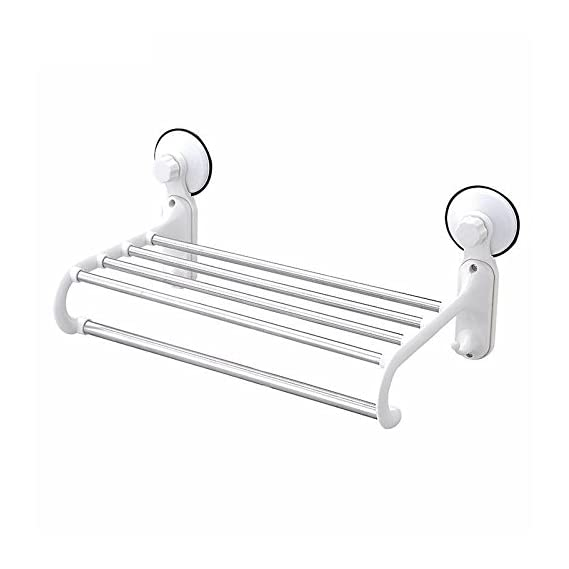 ASkyl Strong Suction Towel Holder Rack for Bathroom (White) Load Capacity 5Kg