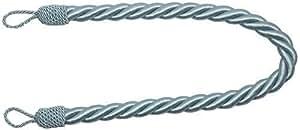 Embrasse rideaux large bleus satin corde tressée 81cm x 2 embrasses