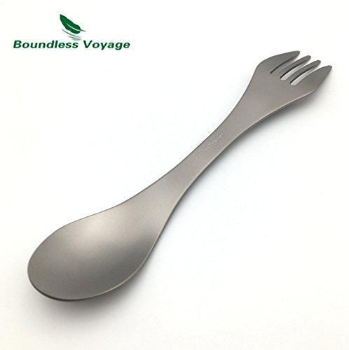 Spoonula Set (Titanium Spork Titanium Spoon Outdoor Camping Dinnerware Lightweight(21.2g))