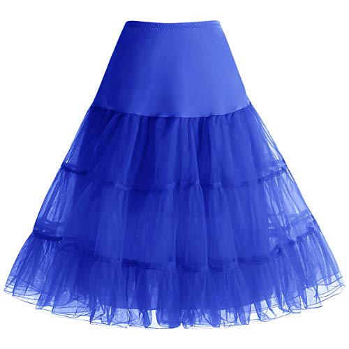 bbonlinedress Organza 50s Vintage Rockabilly Petticoat Underskirt Royalblue L