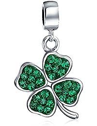 Bling Jewelry Cristal Verde Trébol 4 Leaf Clover Cuelgue Cordón e ajuta