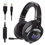 Cehensy Gaming Headset Bequeme Ohrenschützer Twinkling LED Beleuchtung Kopfhörer mit verstellbarem Mikrofon für PS4, Xbox One, Nintendo Switch/3DS/New 3DSII, Laptop, Computer, Tablet, iPad, Handys etc. 51