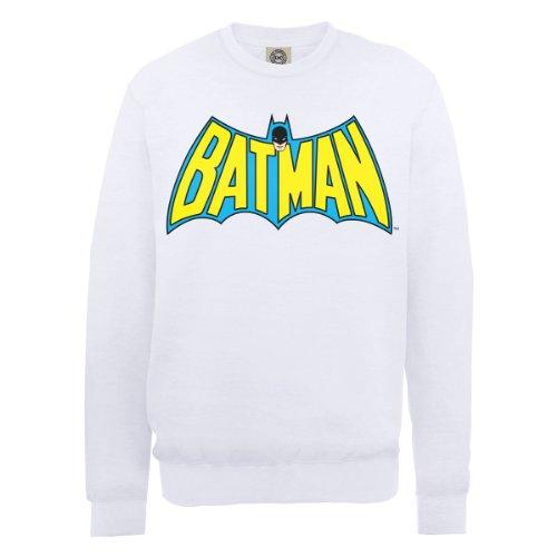 DC Comics Herren, Sweatshirt, DC0000586 Official Batman Retro Logo Weiß - Weiß