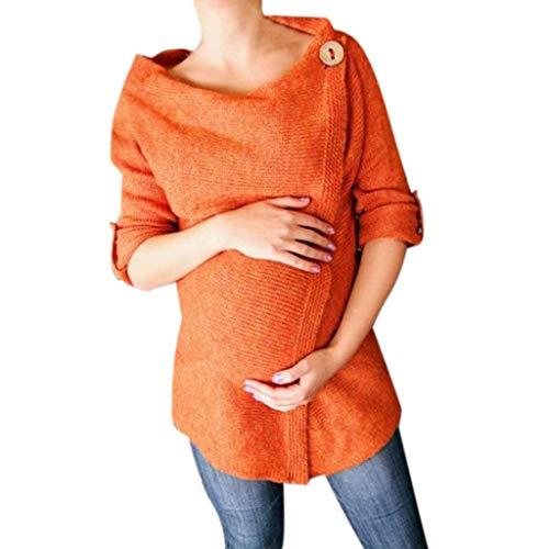 SANFASHION Chandaill Femme Grossesse,Sweatshirts Maternité,Pull Tops Enceinte Bouton Tricoté Ouverture Tricotant Pullover Mode-Orange,L