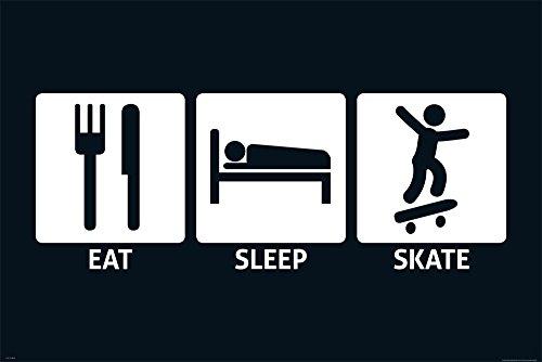 Eat, Sleep, Skate–Fun Poster–dimensioni 91.5x 61cm + Accessori Ü-Poster der Grösse 61x91,5 cm