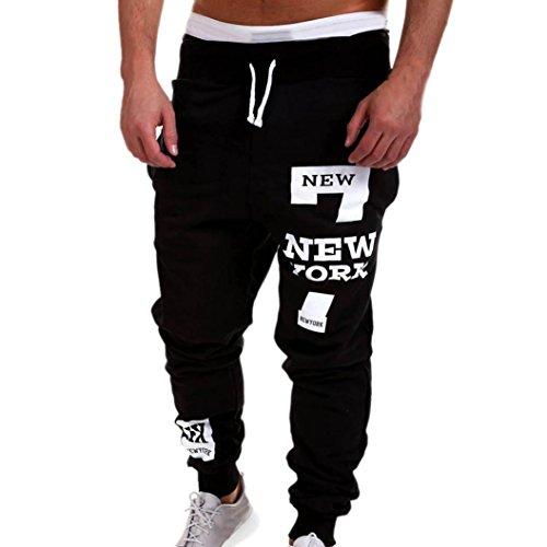 Chándal de hombres Amlaiworld Moda Pantalones de chándal de hombre Pantalones casuales para hombres Running Yoga Pantalones Deportes (Negro, L)
