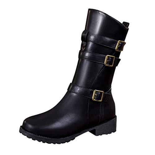 Damen Winterstiefel Mode Reine Farbe runde Kappe Reißverschluss Schnalle quadratische Fersen Vintage Frauen Stiefel Retro Stylisch Basic Ausgehen Warm Boots Schwarz 38