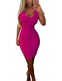 FARINA Vestido escote V rayón Mini Bandage bodycon, vendaje vestido, Vestidos Bandage dress -sin mangas-ajustado-para mujer