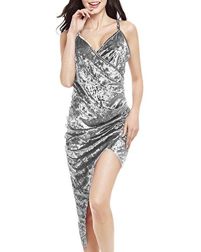 Damen Harness Kleid VAusschnitt Öffnen Rückseite Unregelmäßige Partykleider  Festkleid Etuikleider Wickelkleider Bodycon Kleid Grau