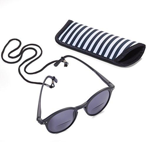 Troika SUN READER 2 - SUR20/BK- Lesesonnenbrille mit Etui - bifokal - Stärke +2,00 dpt - Lesebrille + Sonnenbrille - Polykarbonat/Acryl/Mikrofaser - schwarz - das Original